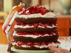 Strawberry Chocolate Layer Cake Recipe : Ree Drummond : Food Network - FoodNetwork.com