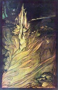 Loki's Magic Fire - Rackham.  A Norse God,  Loki, the Trickster, challenges the structure and order of the Gods which is necessary in bringing about needed change.