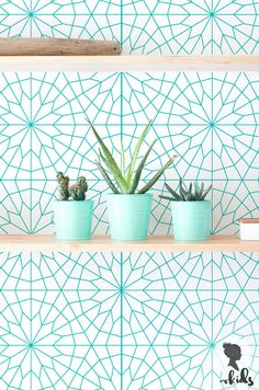 Geometrische bloem behang / regelmatige of verwisselbare wallpapers van L023