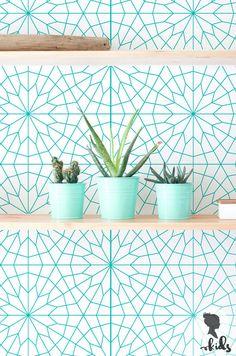 Geometric Flower Pattern Removable Wallpaper L023 by LivettesKIDS