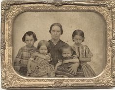 Elisabeth (Weekes) Freeman (1822-1908) with four oldest children, from left to right: Warren (1853-68), Rosilla (1856-1923); Ambrose (1858-1944) & Elizabeth (1851-1867)