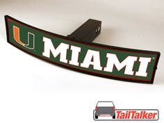 Miami Hurricanes Trailer Hitch Cover Illuminated by tailtalker