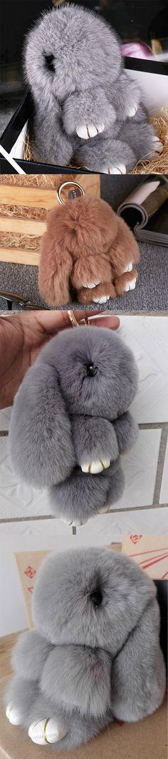 Cute fluffy bunnies rabbits small charm keychain phone charm bag charm