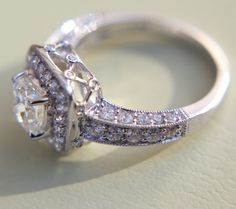 2 carats total Round and Cushion Cut Diamond Engagement Ring -14K white gold - Halo - Antique Style - Weddings