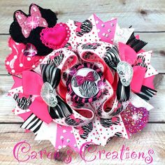 Valentine's Day bow, Animal print, zebra print, Minnie Mouse bow, stacked boutique bow, hair bow, Disney, over the top, hearts, girls hair accessories