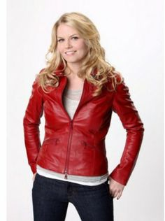 $184.99 Emma Swan Red Leather Jacket Once Upon a Time Movie for sale online free shipment UK and USA. #Emma #Swan #Leather #Jacket #red #women #design #style