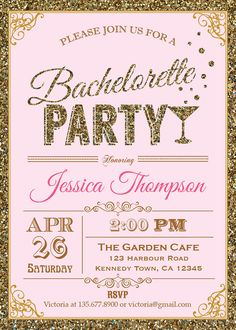 Pink and glitter invitations. Now we're talkin!