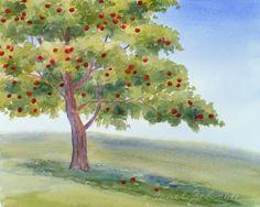 Zeh Original Art Blog Watercolor and Oil Paintings: Apple Tree Original Watercolor Painting