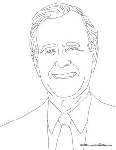 George W Bush Coloring Page 43rd President Clip Or
