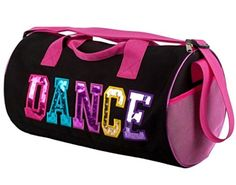 354ab625457c Black and Fuchsia Dance Duffel Bag with Multicolored Dance Print      undefined