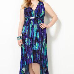 Blurred Line Hi Lo Dress-Plus Size Hi Lo Dress-Avenue