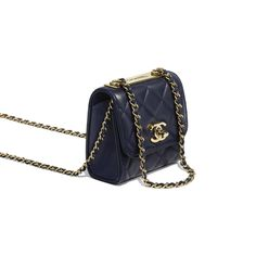 eb773dce2e8d Lambskin   Gold-Tone Metal Navy Blue Clutch with Chain