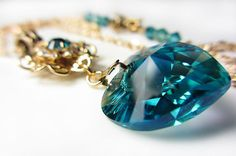 Swarovski Blue Heart Necklace Teal Swarovski Crystal by NataliaKh,