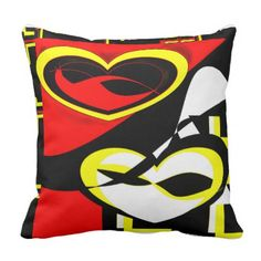 #Red&Yellow Reflecting Heart Throw Pillow - cyo customize design idea do it yourself diy