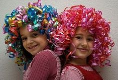Need to buy curling ribbon. Crazy Hat Day, Crazy Hair Day At School, Crazy Hats, Clown Wig, Clown Costumes, Wacky Hair Days, Red Ribbon Week, Dress Up Day, Ribbon Hair