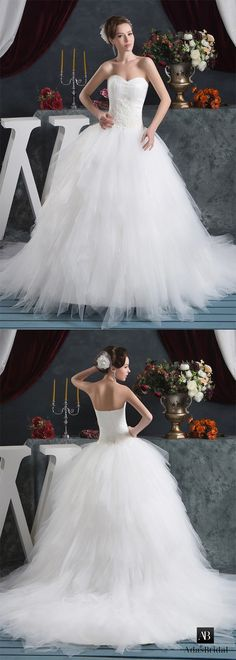 Charming tulle sweetheart neckline ball gown wedding dresses with lace appliques. Elegant glamour is found in this stunning ball gown. (WWD72064) - Adasbridal.com