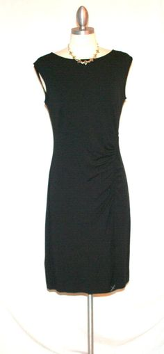 Ann Taylor Black Knit Sleeveless Ruched Jersey Dress Sz S New wTags $88 Retail #AnnTaylor #Sheath #LittleBlackDress