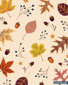 Illustration by Yu Kito Lee: Surface Pattern: Autumn forest Cute Fall Wallpaper, Iphone Wallpaper Fall, Iphone Background Wallpaper, Print Wallpaper, Halloween Wallpaper, Pattern Wallpaper, Autumn Illustration, Pattern Illustration, Segundo Round