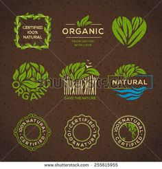 Organic food labels and elements, set for food and drink, restaurants and organic products vector illustration. - stock vector