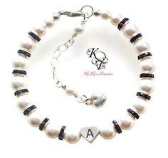 Personalized Girls Bracelet, Heart Bracelet, Little Girl Jewelry, Baby Gift, Personalized Jewelry, Little Girl Gift, Flower Girl