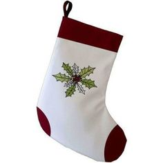 Simply Daisy 9 x 16 Holly Wreath Decorative Holiday Floral Print Stocking