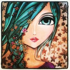 """Anna"" by Romina Lerda Art - Art Journal Inspiration, Painting Inspiration, Eyes Artwork, Creation Art, Eye Art, Whimsical Art, Art And Illustration, Mixed Media Art, Painting & Drawing"