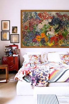 An oversize piece of art can often be used as a great headboard alternative! Bedroom Apartment, Home Bedroom, Bedroom Decor, Apartment Therapy, Floral Bedroom, Bedroom Pics, Bedroom Artwork, Bedroom Colors, Dream Bedroom