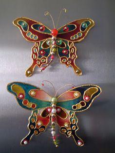 Manualidades y Arte: Imanes de plástico de mariposas
