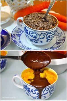 Bolo de Cenoura com Cobertura de Chocolate, versão Só pra mim … Cobertura e Bolo em porções individuais feitos no microondas e pronto em 3 minutinhos sem liquidificador, sem sujeira, especia…