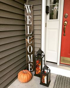 Vertical porch welcome sign in 2019 for the home дизайн, лан Wood Home Decor, Home Decor Signs, Easy Home Decor, Handmade Home Decor, Cheap Home Decor, Rustic Decor, Room Decor, Diy Home, Rustic Theme