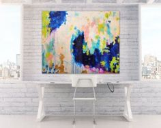 """Sold! Acrylic Abstract Art Large Canvas Painting Blue, Peach, Gold, Pastel, Ombre Glitter with Glass and Resin Coat 36"""" x 48"""" real gold leaf"""