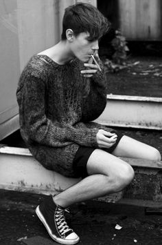 sweater and shorts (no cigarette)