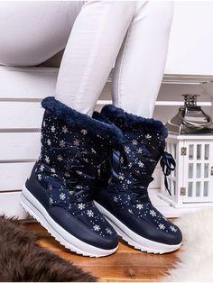Teplé modré snehule ozdobené vločkami JB14-12M Outfit, Boots, Winter, Fashion, Outfits, Crotch Boots, Winter Time, Moda, Fashion Styles