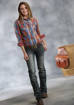 Roper® Women's Red Ombre Plaid Fancy Yoke Long Sleeve Snap Western Shirt