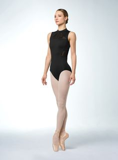 8d94d11fa01e Adult High Neck Tank Leotard with Mesh Inserts and a Zip Back by Bloch in  Black