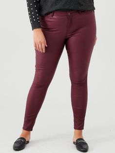 Junarose Curve Fiveoris Coated Jeans - Port | littlewoodsireland.ie High Leg Boots, Long Toes, Smart Casual, Skinny Fit, Casual Pants, Dress Outfits, Leather Pants, Coated Jeans, Shopping