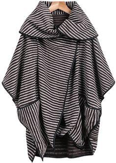 Mantel kurzarm mit Streifenmuster, khaki-weiß-Sheinside