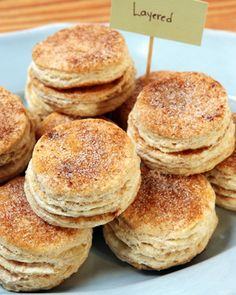 "Layered Biscuits Somewhere between a biscuit and a monkey bread, these goodies redefine ""flaky."" For a savory version, leave out the cinnamon sugar -- and might we suggest some fresh herbs and a sprinkle of Parm or Gruyere? Brunch Recipes, Breakfast Recipes, Bread Recipes, Brunch Ideas, Coffee Recipes, Recipes Dinner, Breakfast Ideas, Baking Recipes, Pan Relleno"