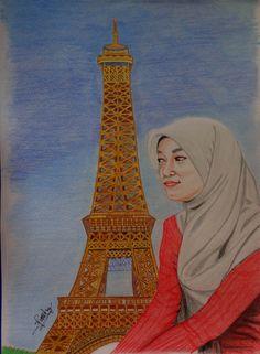 feti sumaryanti, colored pencil, lukisan pensil, lukisan Paris, lukisan wajah, melukis wajah dengan pensil warna.