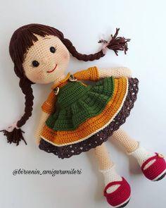 The author of the doll about 38 cm, yarn cotton. Doll Amigurumi Free Pattern, Crochet Amigurumi Free Patterns, Crochet Doll Pattern, Amigurumi Doll, Free Crochet, Crochet Geek, Doll Patterns, Crochet Projects, Garter Stitch