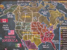 Waldorf ~ 4th grade ~ Local Geography ~ North America ~ chalkboard drawing