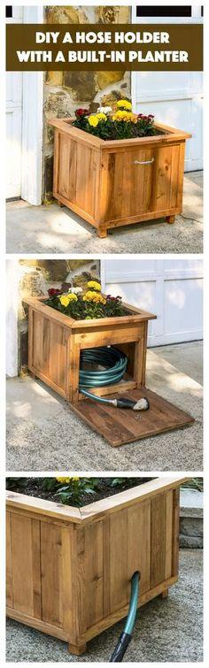 DIY Pallet Wood Hose Holder with Planter