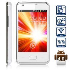 i9270 + Android 4.0 Smartphone Double Carte SIM 3,5 pouces HVGA écran tactile WiFi Double Caméra (Blanc) - 7mall.fr