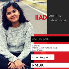 Kudos to Astha!  We couldn't be more proud that you're interning with the talented team at RMDK.  Ravish Mehra Deepak Kalra (RMDK) is a design studio based in Lajpath Nagar, New Delhi. The studio consists of a vibrant and energetic team eager to explore design as a whole. They strive to achieve a perfect harmony of function, the human psyche, environment and aspirations integrated together aesthetically.