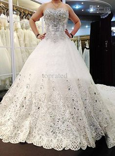 2015 New Wedding Dresses Bridal Gown Sweet-heart Lace Tulle SWAROVSKI Luxury Crystals Cathedral Train A Line Chapel Train Online with $306.95/Piece on Toprated's Store | DHgate.com