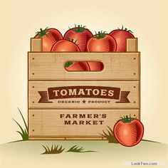 Fresh tomato retro style poster vector material 05 free vector download