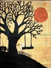 halloween tree silhouettes on newspaper, love the newspaper background Fall Art Projects, School Art Projects, Middle School Art, Art School, High School, Newspaper Art, Newspaper Background, Collage Background, Theme Halloween