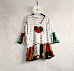 Rustic Sweater Patchwork Clothing Beige Stripes Emerald Green Women's Top Upcycled Clothes Burgundy Heart Hippie Tunic Medium Large 'SIXX'