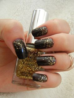 Black with Gold Glitter by The Katizzle