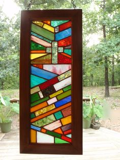 Hanging Christian Cross stained glass by WizardStainedGlass